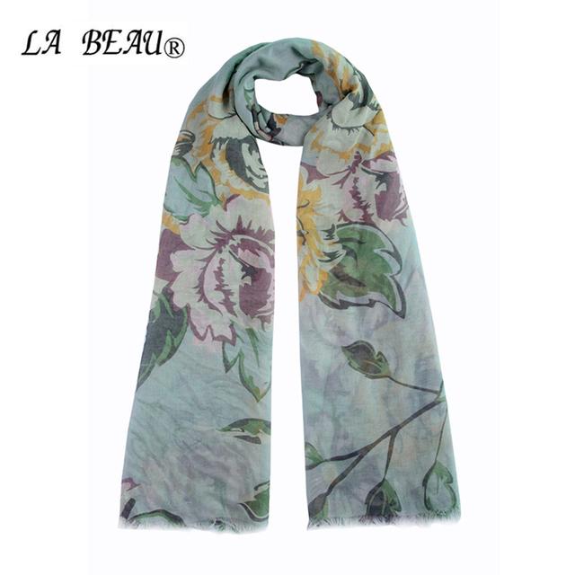 Aire Acondicionado Natural bufanda de seda del otoño y el invierno bufandas marca para Coton impresión de la flor Sjaaltjes Sciarpa mantón