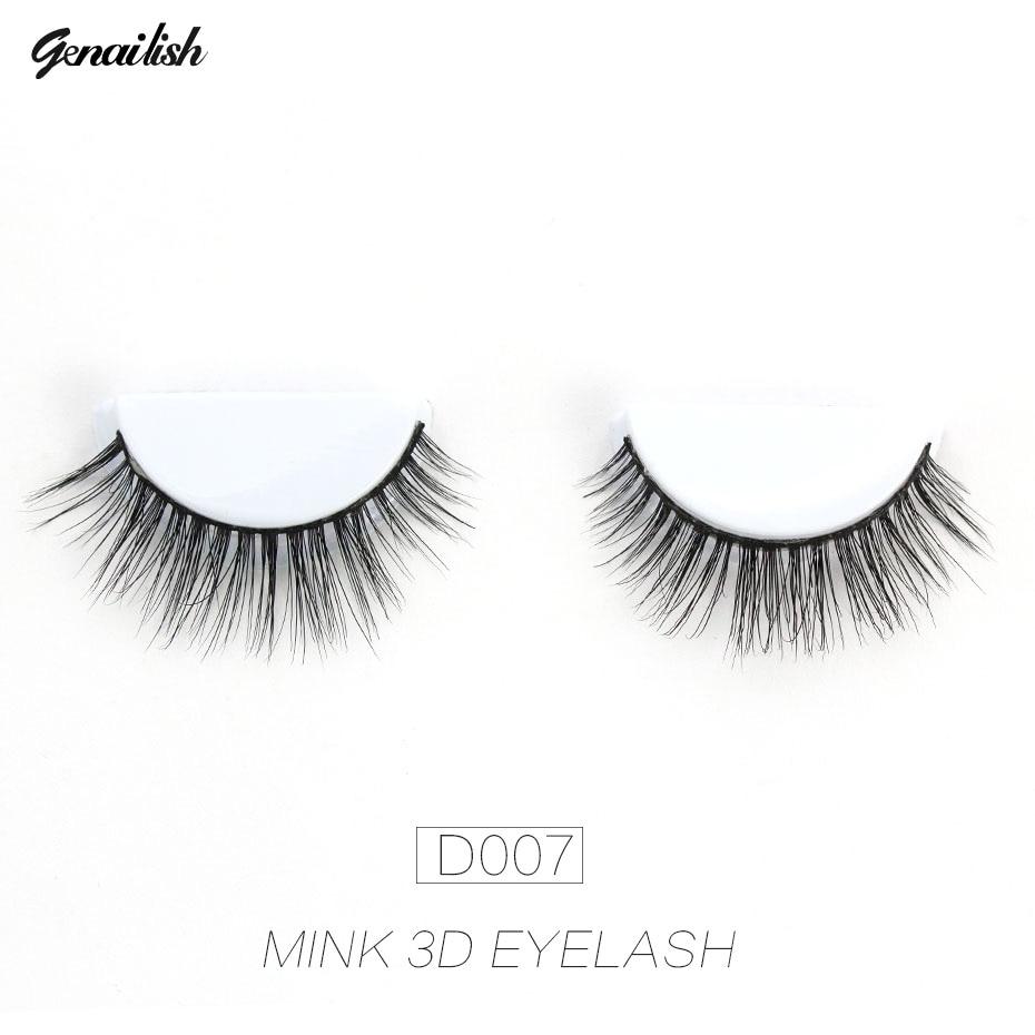 Genailish Eyelahses 3D Mink Lashes Naturligt Ögonfransförlängning Handgjorda Långa Falska Ögonfransar Full Strip Lashes Cilios D007