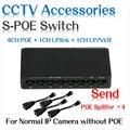 6 portas s de desktop fast ethernet switch poe + 2 portas dc Switch de Rede Câmeras IP POE Alimentado Adaptador para trabalhar com os nossos POE Splitter