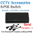 6 puertos s fast ethernet switch poe + 2 puertos dc escritorio conmutador de Red IP Cámaras Adaptador POE Alimentado trabajar con nuestro POE Divisor