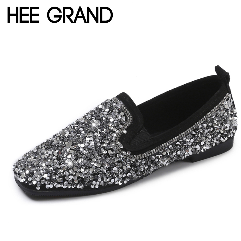 HEE GRAND 2018 New Flats Solid Sequined Cloth Slip On Loafers Casual Crystal Summer Women Creepers Fla Shoes Size 35-40 XWD6422 lanshulan bling glitters slippers 2017 summer flip flops platform shoes woman creepers slip on flats casual wedges gold