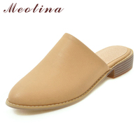 Meotina Spring Flats Women Mules Shoes Fashion Flat with Casual Shoes Round Toe Female Slippers 2019 Footwear Beige Plus Size 46