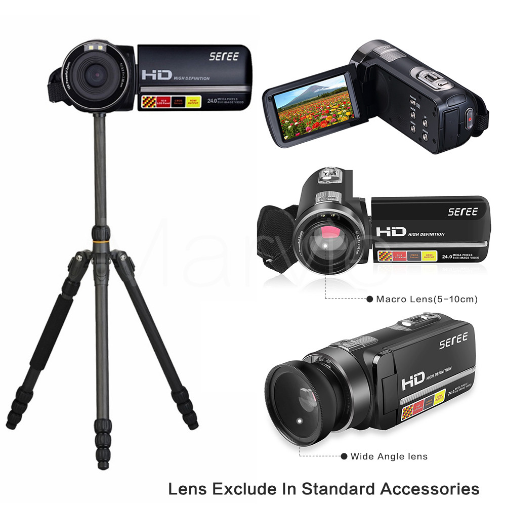 Marvie 17 New Digital Camera Full HD 1080P 16x Zoom Recorder Camcorder Mini 3'' Touch DV DVR 24MP Video Camera 301 8