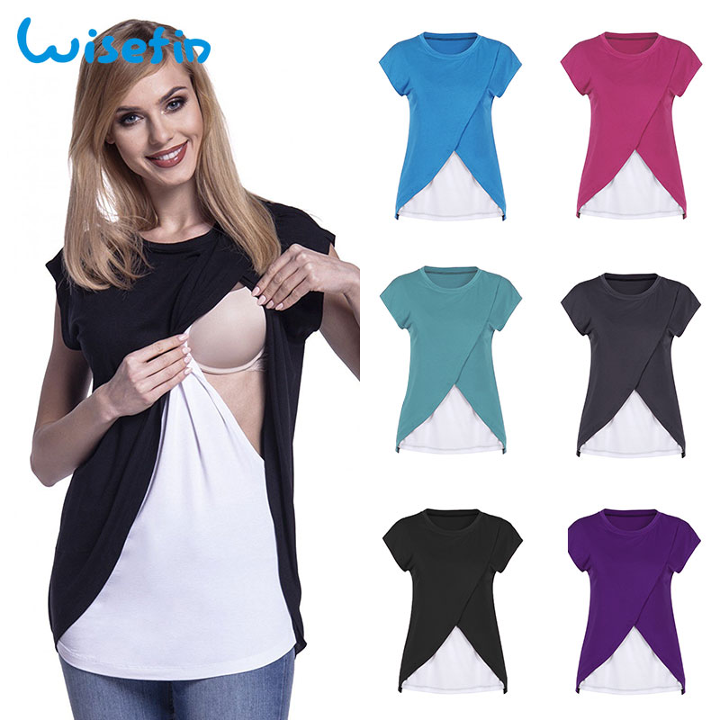 Wisefin Nursing Clothes Summer Patchwork O-Neck Women Maternity Tops 6 Colors Woman Clothing For Pregnant Casual Nursing Tshirt