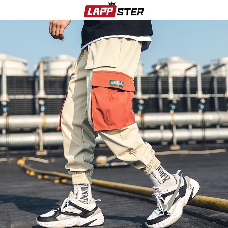 LAPPSTER Hip Hop Joggers Pants 2019 Men Japanese Streetwear Cargo Pants Khaki Sweat Pants Mens Big Pockets Harajuku Track Pants