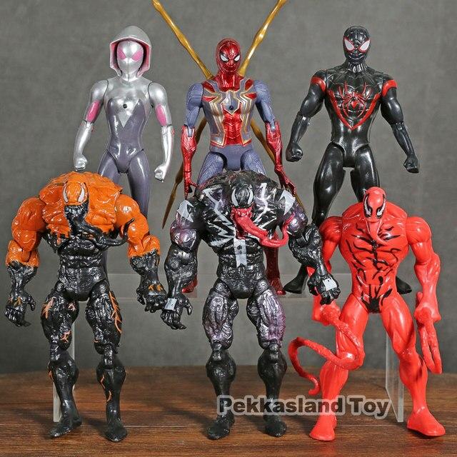 Marvel Spiderman Venom Carnificina Milhas Morales Gwen Stacy Ação PVC Figuras Presentes Meninos Brinquedos Dos Miúdos 6 pçs/set