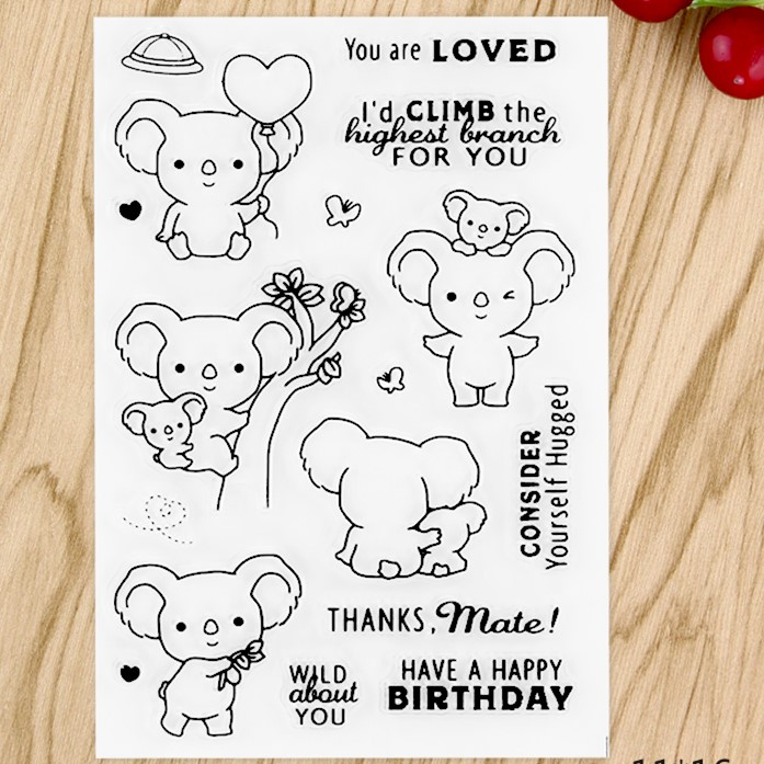 Lovely Pet Koala  Transparent Clear Silicone Stamp/Seal for DIY scrapbooking/photo album Decorative clear stamp sheets A546 about lovely baby design transparent clear silicone stamp seal for diy scrapbooking photo album clear stamp paper craft cl 052