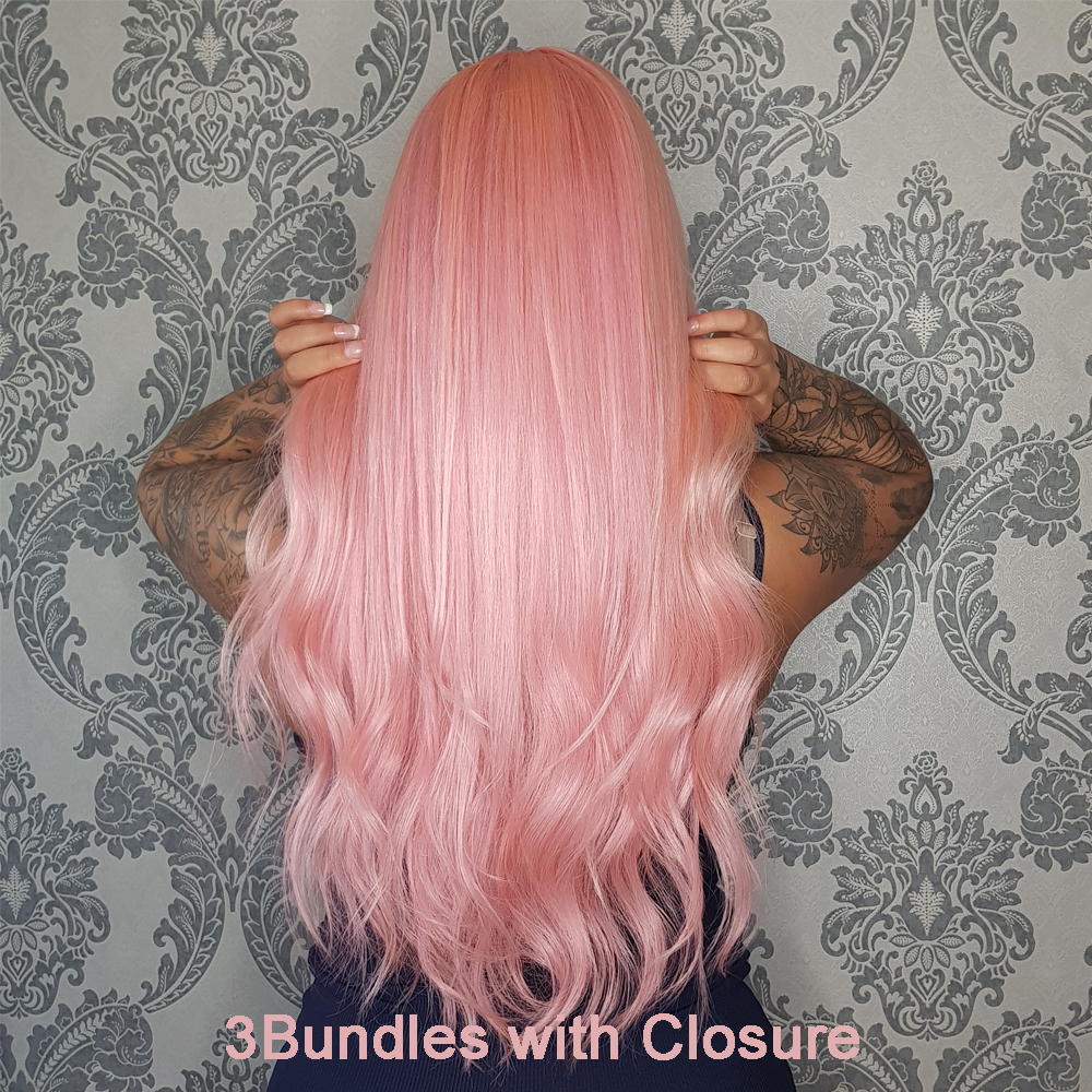 Beaudiva Rose Pink Color Bundles With Closure Brazilian 100% Human Hair Body Wave 3 Bundles 10-26 With 4*4 Lace Closure