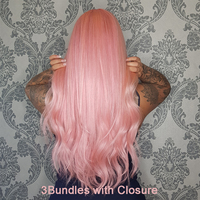 Beaudiva Rose Pink Color Bundles With Closure Brazilian 100% Human Hair Body Wave 3 Bundles 10 26 With 4*4 Lace Closure