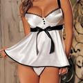 Женская Сексуальное Женское Белье Пижамы Babydoll Бюстгальтера Белая Ночь Платье + G-string