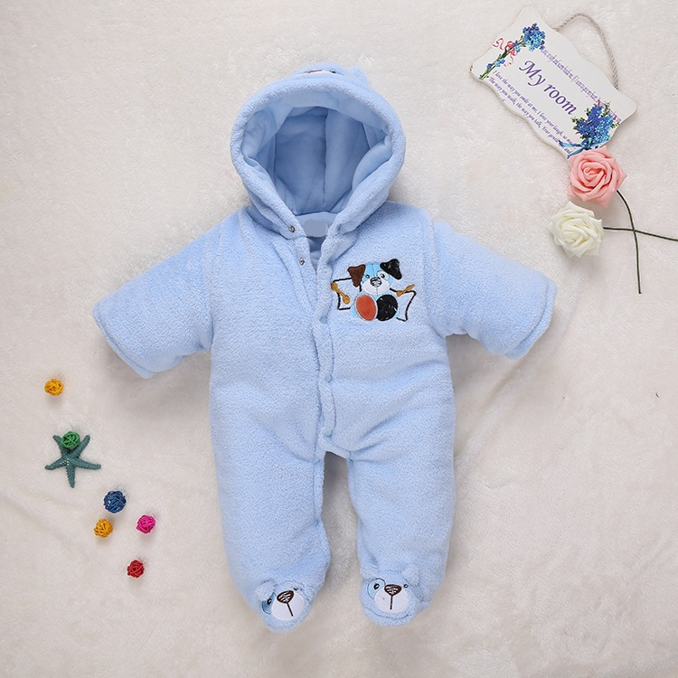 Boy and Girl Baby Cotton Romper Autumn Winter Plus Thick Full Sleeves Kids Clothes Coral Fleece Embroider Children Jumpsuits