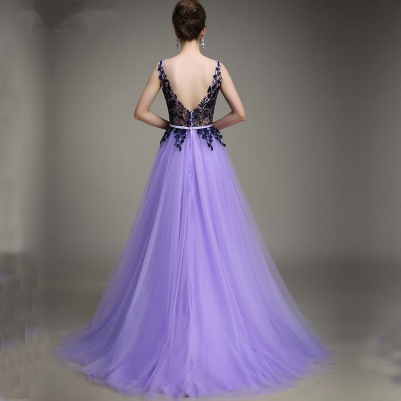 703081cad2 A line Bateau Sleeveless Appliques Tulle Lavender Evening Party Gowns  vestidos de festa Cheap Long Elegant Prom Dresses 2015-in Prom Dresses from  Weddings ...