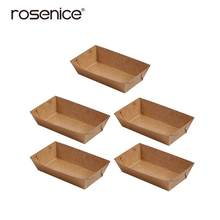 5PCS Disposable Food Serving Tray Coating Kraft Paper French Fries Box for Food Trucks Caterers(China)