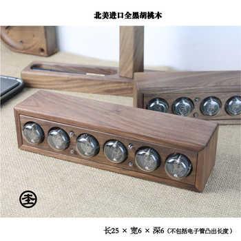 Cool! 6-bit Glow digital tube clock, black walnut solid wood digital display QS30-1, DIY retro ,Including tubes