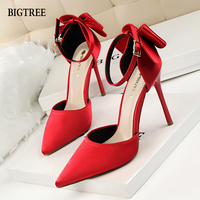 BIGTREE Sweet And Beautiful Women Elegant Shoes Fetish High Heels Belt Buckle Butterfly Knot Pointed Toe Women Pumps