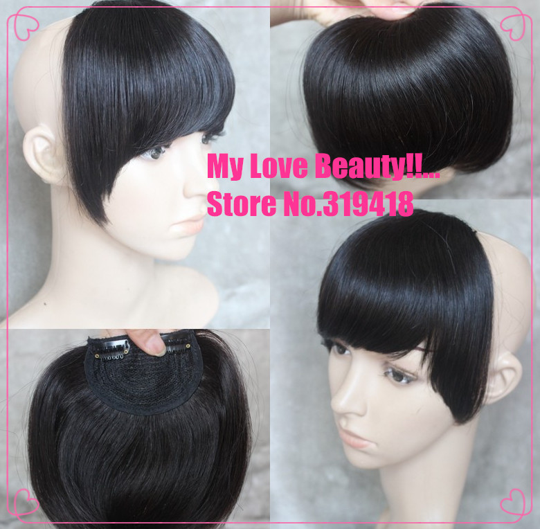 Sides Long 2 Clips In Hair Extensions 1b Natural Black Full Bang