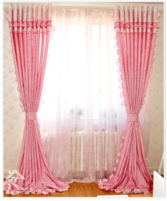 Free Shipping Textiles Bedroom Curtains Children S Curtain For Living Room Princess Girl Pink Curtains For Windows