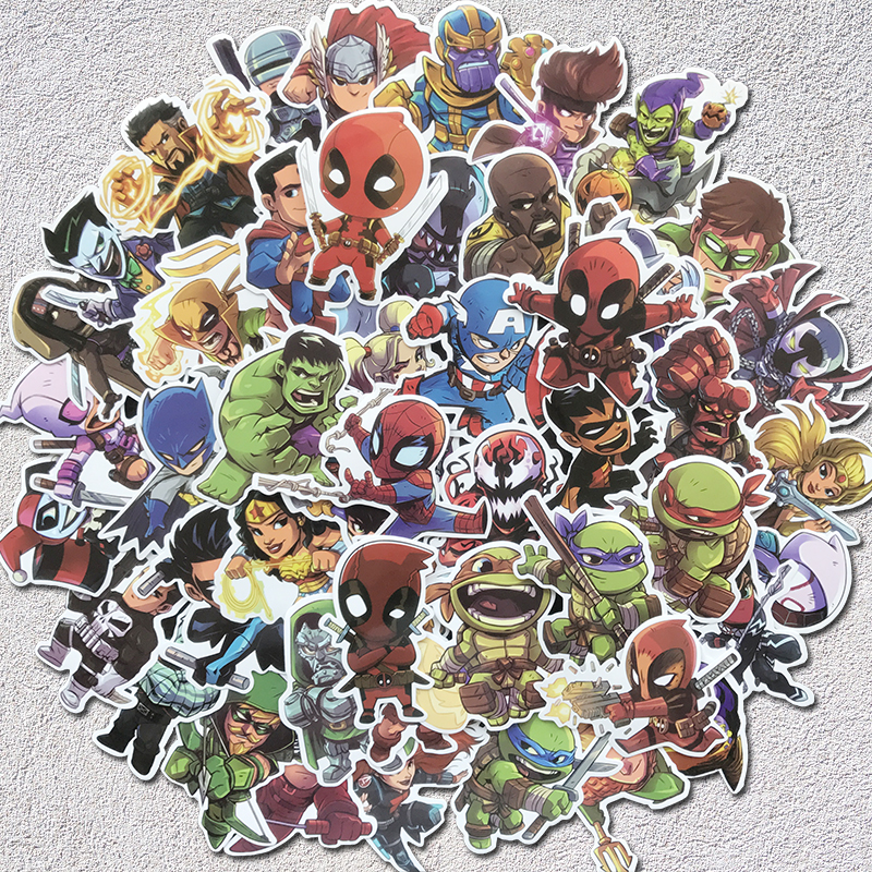 Aqk 50 Pcs Cute Waterproof Super Hero Stickers For Marvel Dc Graffiti Sticker For Skateboard Luggage Laptop Notebook Guitar Car