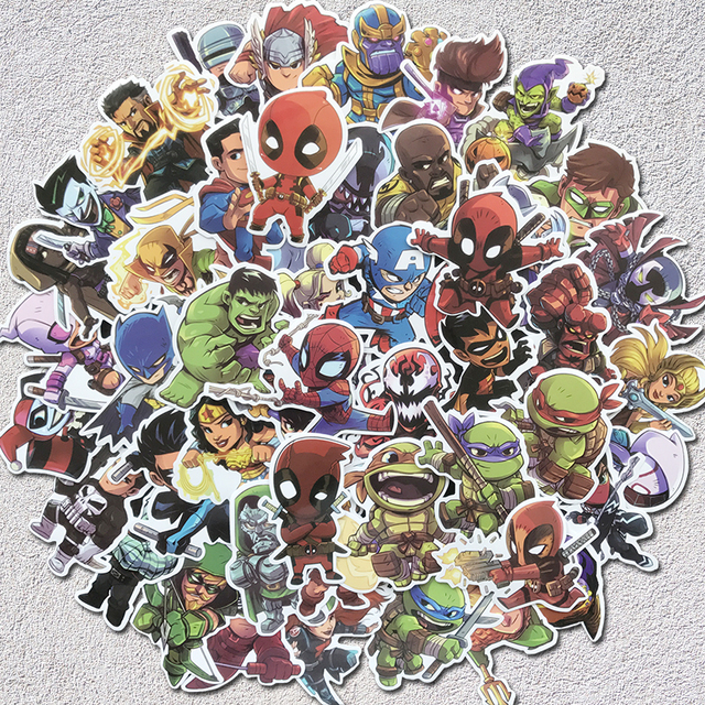 Aqk  Pcs Cute Waterproof Super Hero Stickers For Marvel Dc Graffiti Sticker For Skateboard Luggage