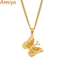 Anniyo Small Charm Butterfly Pendant Necklaces for Women Girls Gold Color Jewelry PNG Gifts #006609(China)
