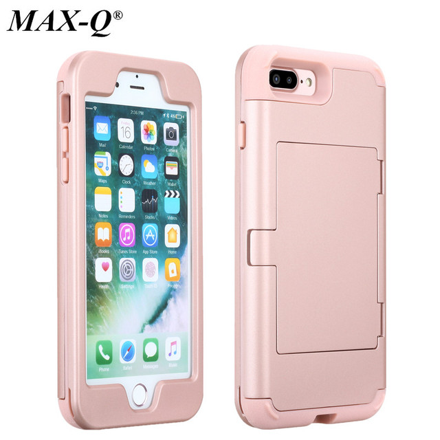 sale retailer 3ac42 23f71 US $9.61 |For iPhone 7 Case Luxury Card Holder PC & TPU Cover iPhone 6 s 7  Plus Case With Card Slot & mirror Coque For iPhone7 Plus 6s-in Fitted Cases  ...