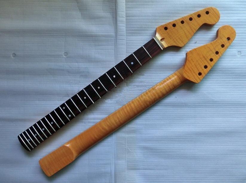 22 fret tiger flame canadian maple rosewood fingerboard electric guitar neck guitar parts. Black Bedroom Furniture Sets. Home Design Ideas