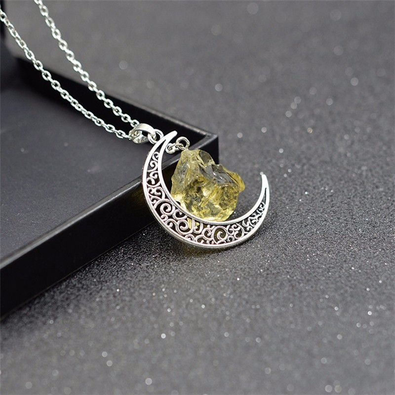 HTB1uXLlKXXXXXb7XXXXq6xXFXXXa - New Fashion Moon Vintage Irregular Natural Stone Pendant Necklaces Necklace Multi Spar Quartz Crystals Jewelry