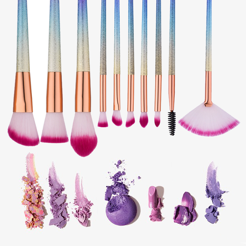Gradient Rainbow makeup Brushes Set Fantasy Eyebrow Eyeliner Blush Blending Contour Foundation Cosmetic Beauty Make Up tools