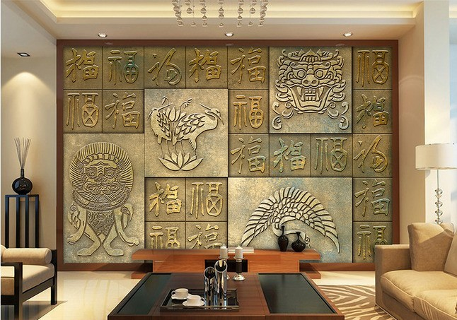 free shipping 3d chinese wallpaper large murals bronze auspicious