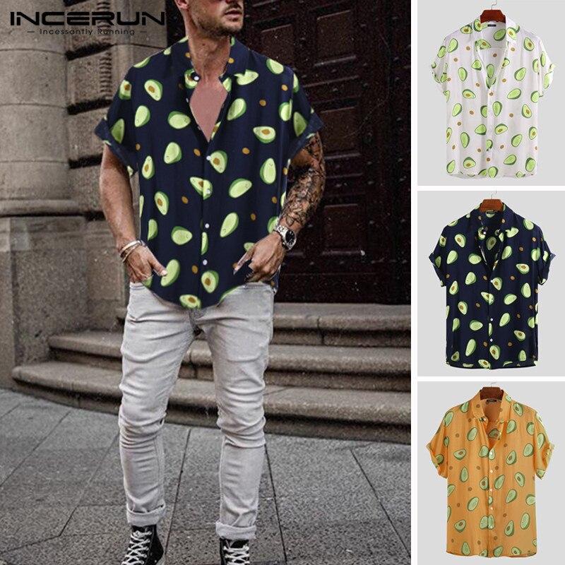 INCERUN Summer Men Shirt Avocado Print Short Sleeve Lapel Neck Casual Tops 2020 Beach Hawaiian Shirts Men Streetwear Camisa 5XL