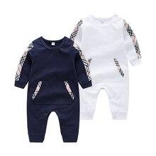Купить с кэшбэком Newborn Baby Boy Romper Jumpsuit Casual O Neck Long Sleeve Infant Bebes Cotton Pajamas Spring Children One Piece Overall Clothes