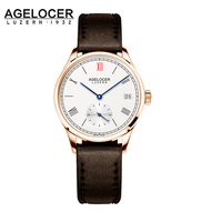 Agelocer brown de las mujeres del vestido de la correa de relojes de oro de lujo de las mujeres ocasionales del reloj de pulsera señoras reloj de pulsera de zafiro relojes mecánicos
