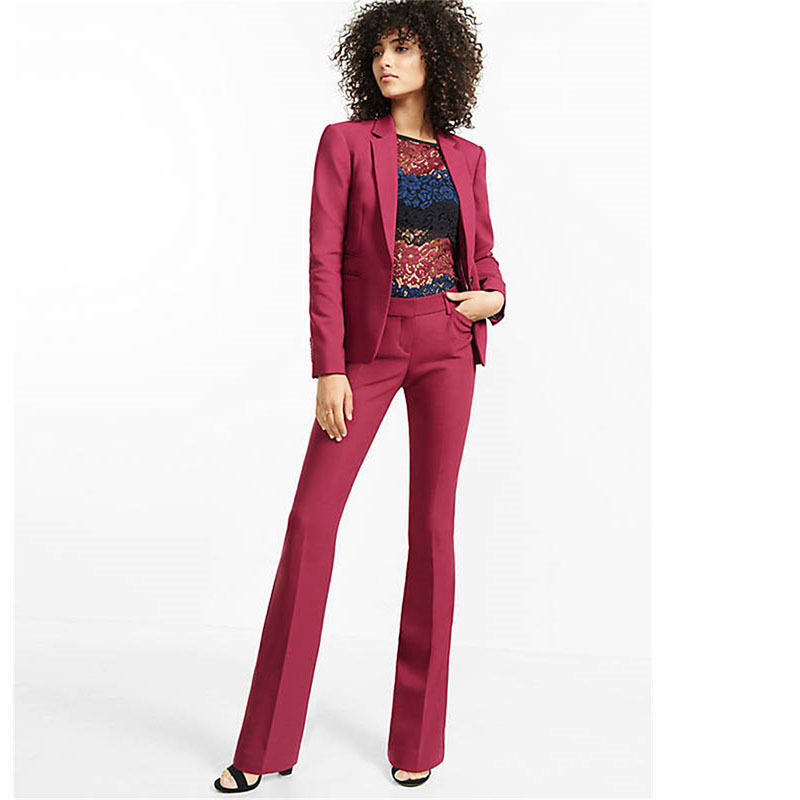 fashion Pants suit Burgundy Womens Trouser Suit Slim Fit Female Business Suit 2 Piece Women Tuxedo 2 tuxedo