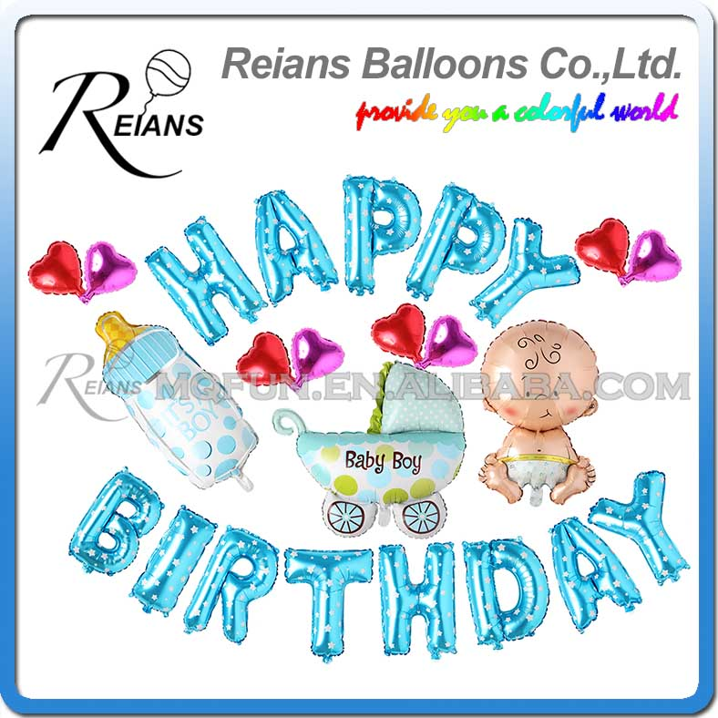 50 Sets Reians Cartoon BLUE New Born Baby carriage kids HAPPY BIRTHDAY Party Decoration Letter Number Aluminum Foil Balloons Set