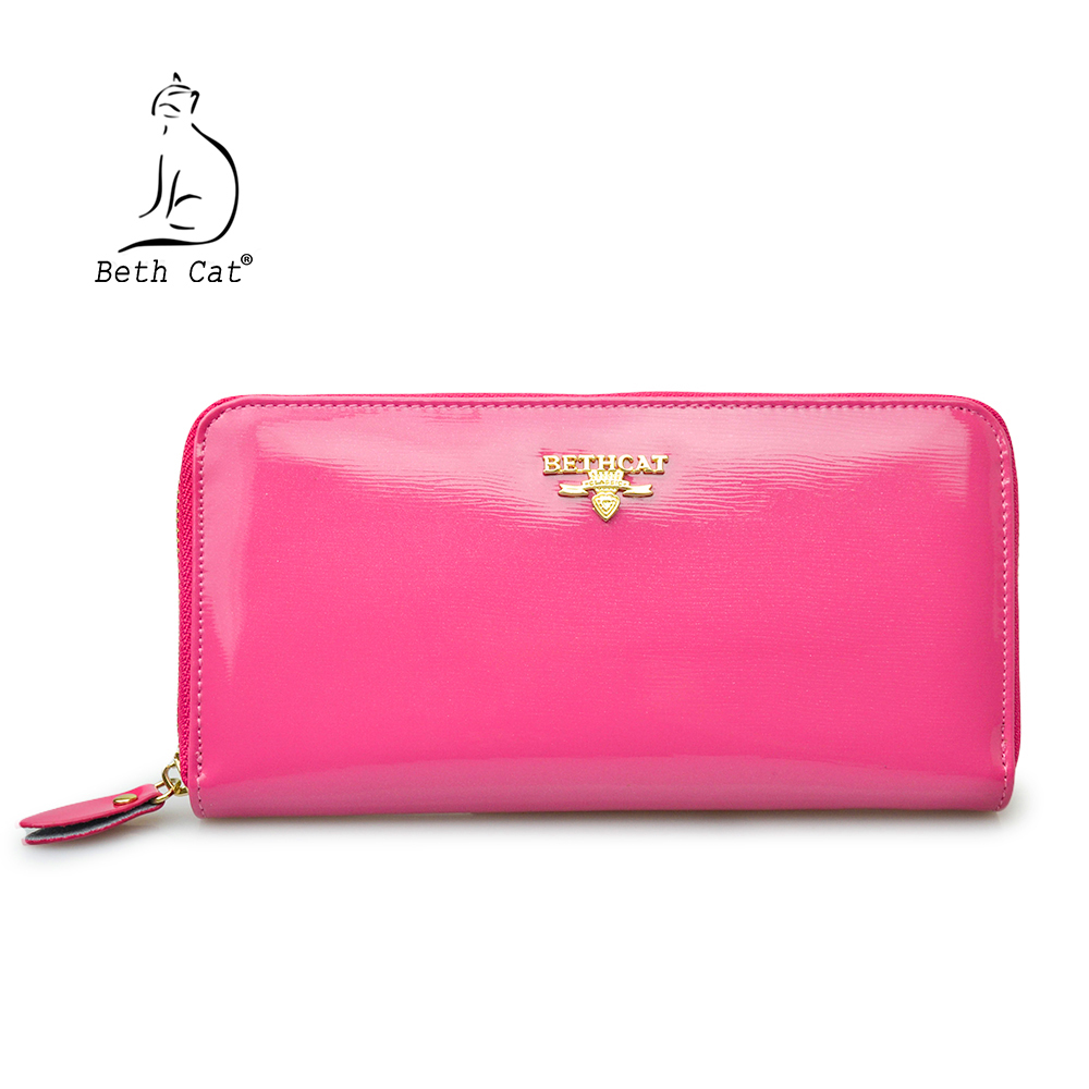100% Real Leather Zip Wallet Women Famous Brand Beth Cat Designer Wallets Ladies Zipper Coin Purse Female Genuine Leather Clutch nawo real genuine leather women wallets brand designer high quality 2017 coin card holder zipper long lady wallet purse clutch