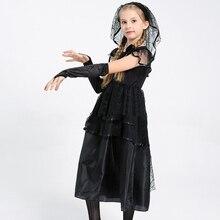 59e22b96b6 Novia vestido de negro de cosplay con velo para niñas niños para halloween  rendimiento baile fiesta