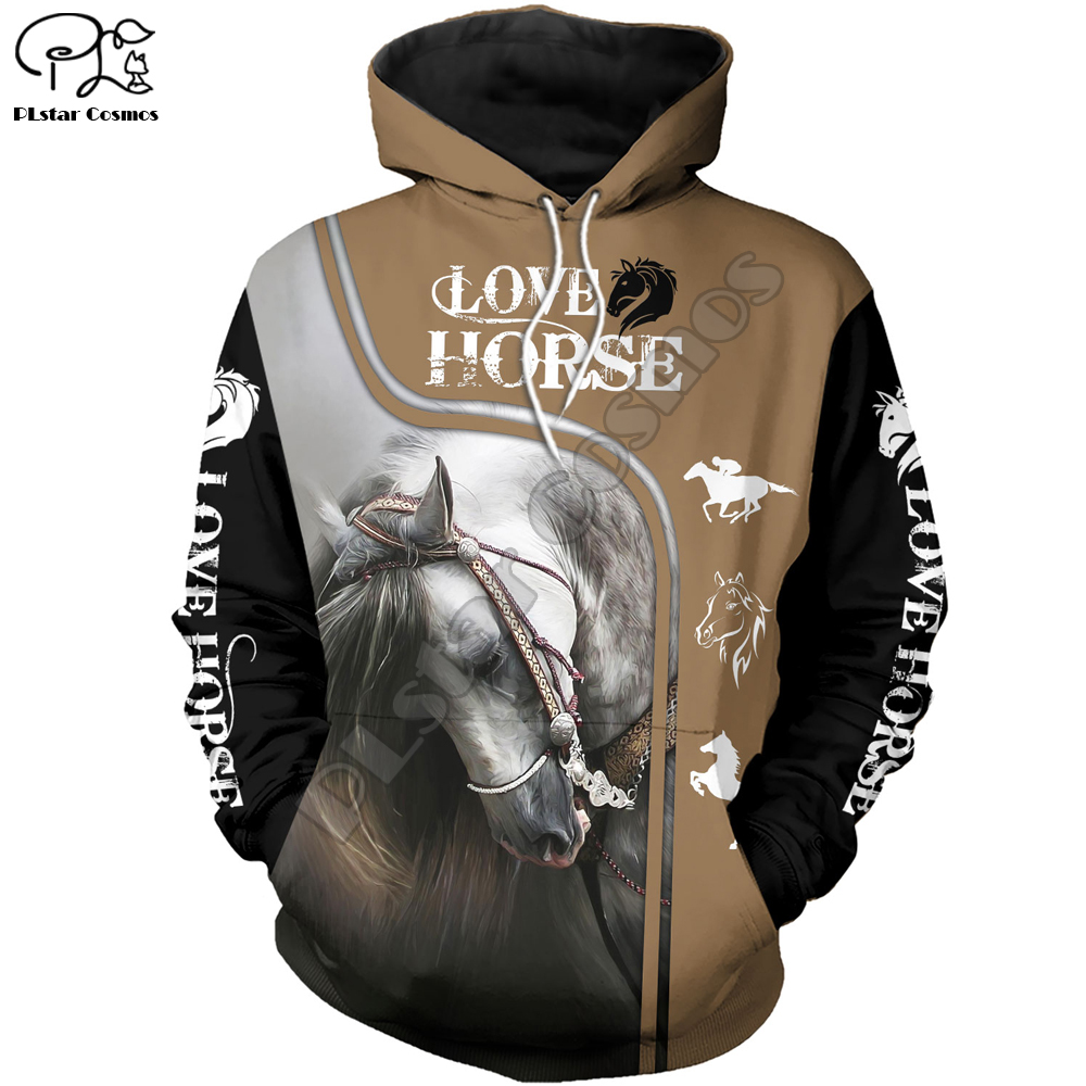 New 3D Sweatshirt Hoodies Men Horse Colorful 3D Print Long Sleeve Fashion Hipster Hoodie Loose Streetwear Pullovers Top MA034