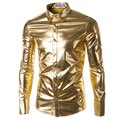 Fitness Mens Trend gliter Night Club Coated Metallic Slim Gold Silver Button Down Shirts Party Shiny Long Sleeves Dress Shirts