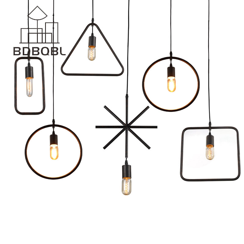 BDBQBL Modern Iron Art Deco Pendant Lamps Nordic Metal Pendant Light Design American Loft Rustic Lighting Dining Light Kitchen