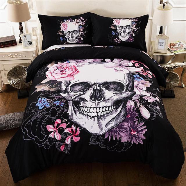 Skull Duvet Cover Set Fantasy Quilt cover set 3D Skull Bedding Set Twin/Queen /King size bedding set Sugar Floral
