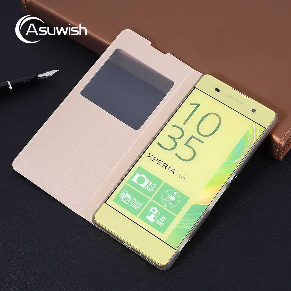 Kapak kapak Deri telefon kılıfı Sony Xperia X Performans Için XZ Premium XA XA1 Ultra L1 E5 XZ1 Z5 Kompakt Mini temizle Görünüm Penceresi