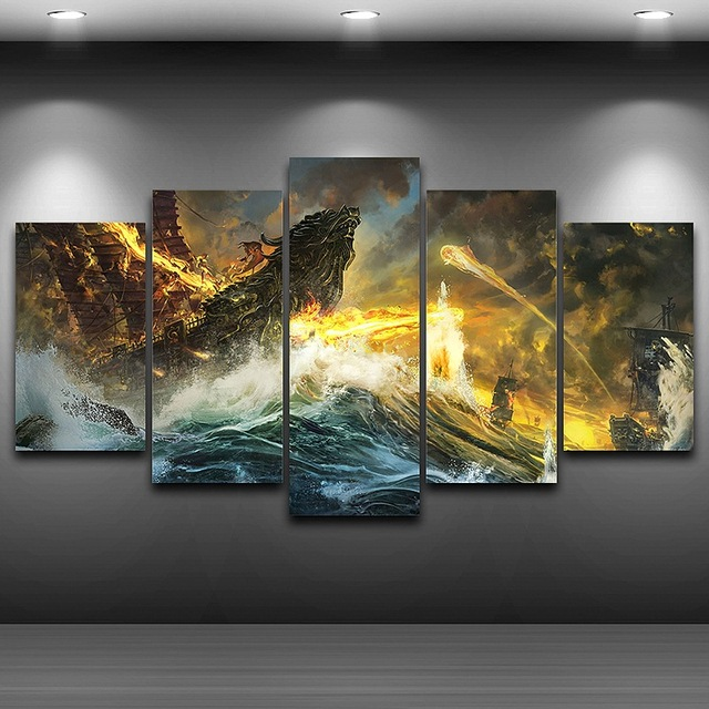 Framed Spray Animation Painting HD Printed Drawing Artistic Canvas Print Room Wall Decor Home Dining