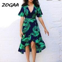 ZOGAA Women Boho Green Leaves Print V-neck High-waist Bandage Ruffles Long Dress Lady Summer Evening Party Beach Vestidos 2019