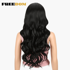 Image 3 - FREEDOM Free Parting Lace Front Synthetic Wigs 360 Lace Frontal Wig Blond Ombre Color Ponytail Wigs For Black Women Supreme Hair