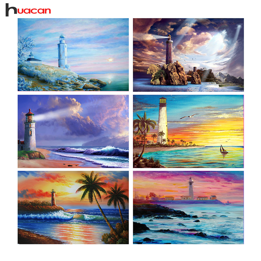 DIY,Diamond Painting,Scenic Series,Needlework,Lighthouses,Home Decor,Full Round,,Diamond Embroidery,Landscapes,On Sale