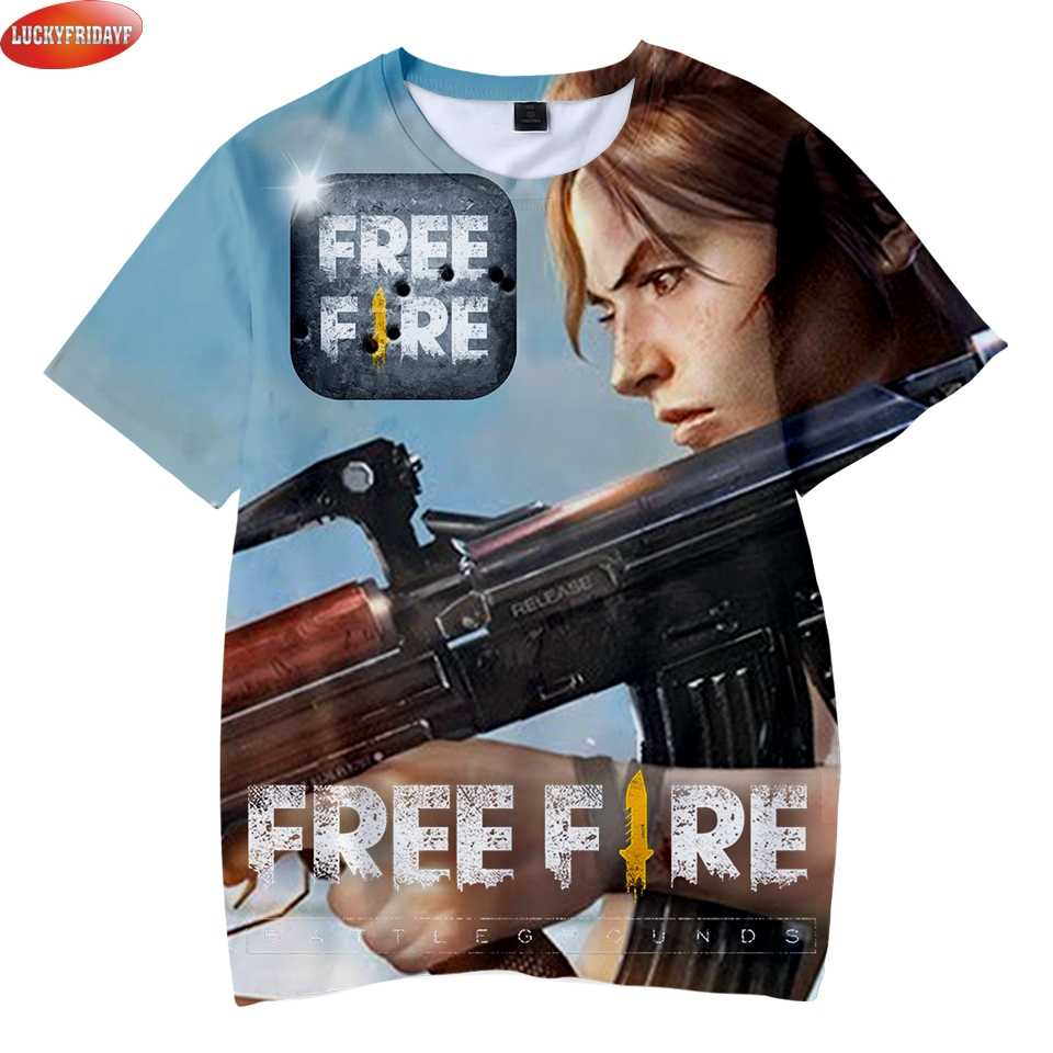 Free Fire 3d Print Children Summer Cool T Shirts Short Sleeve Fashion Streetwear Tshirts Popular Game Free Fire Casual Tee Shirt