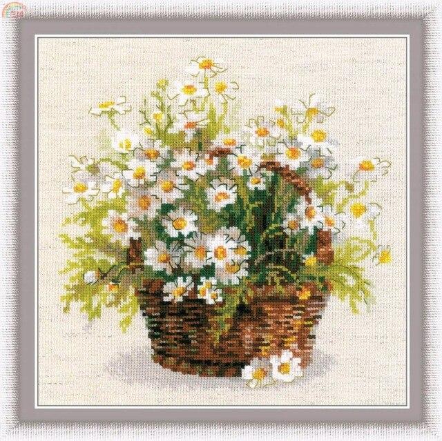 Oneroom высокое качество красивый милый Счетный набор крестиков Riolis 1478 ромашки цветы ромашки 31X31CM,|counted cross stitch kits|cross stitch kits|counted cross stitch - AliExpress