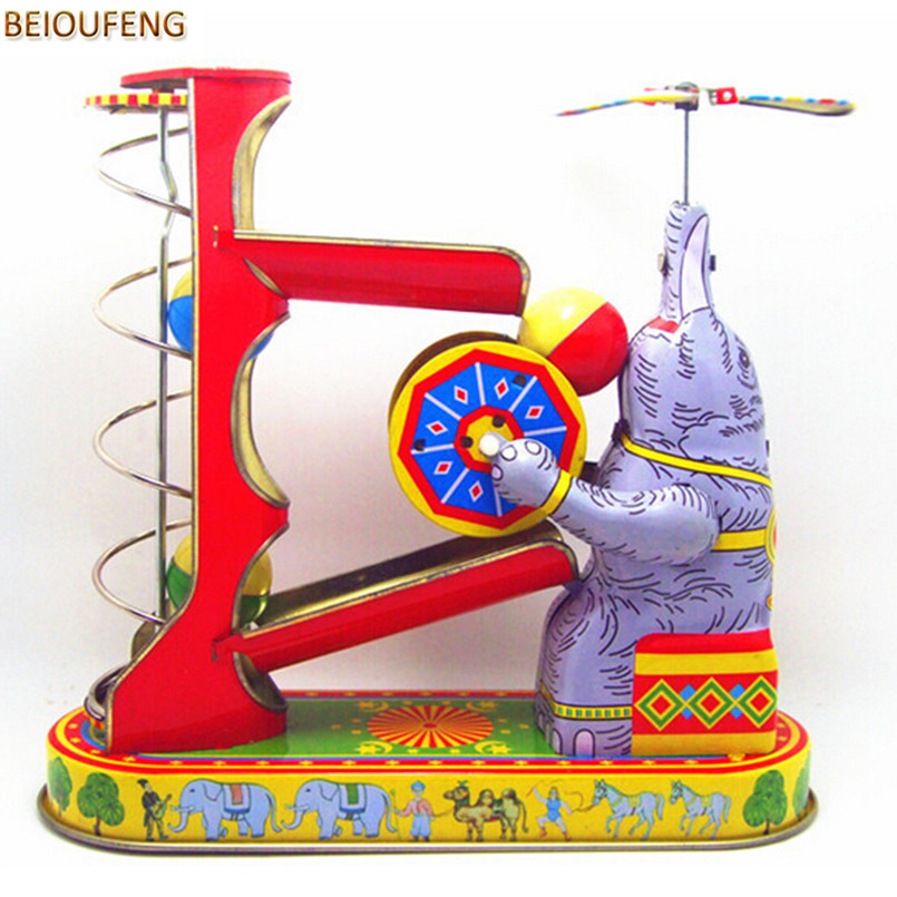 BEIOUFENG Vintage Clockwork Toys Elephant Play Ball Retro Tin Toys for Children Adults,Collectible Classic Wind Up Toy Brinquedo