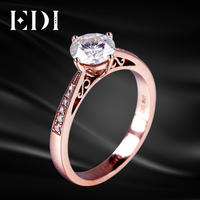 EDI Classic Engagement Ring Gold 0.8ct DEF Moissanites Lab Grown Diamond Ring 14K Rose Gold Brilliant VVS Vintage Jewelry Ring