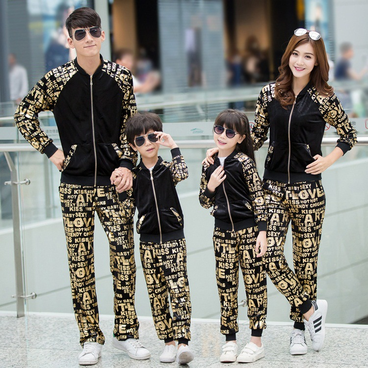 Family Matching Clothes Sets family look two Piece Set Gold velvet Sport suits mother and daughter clothes mother son outfits купить